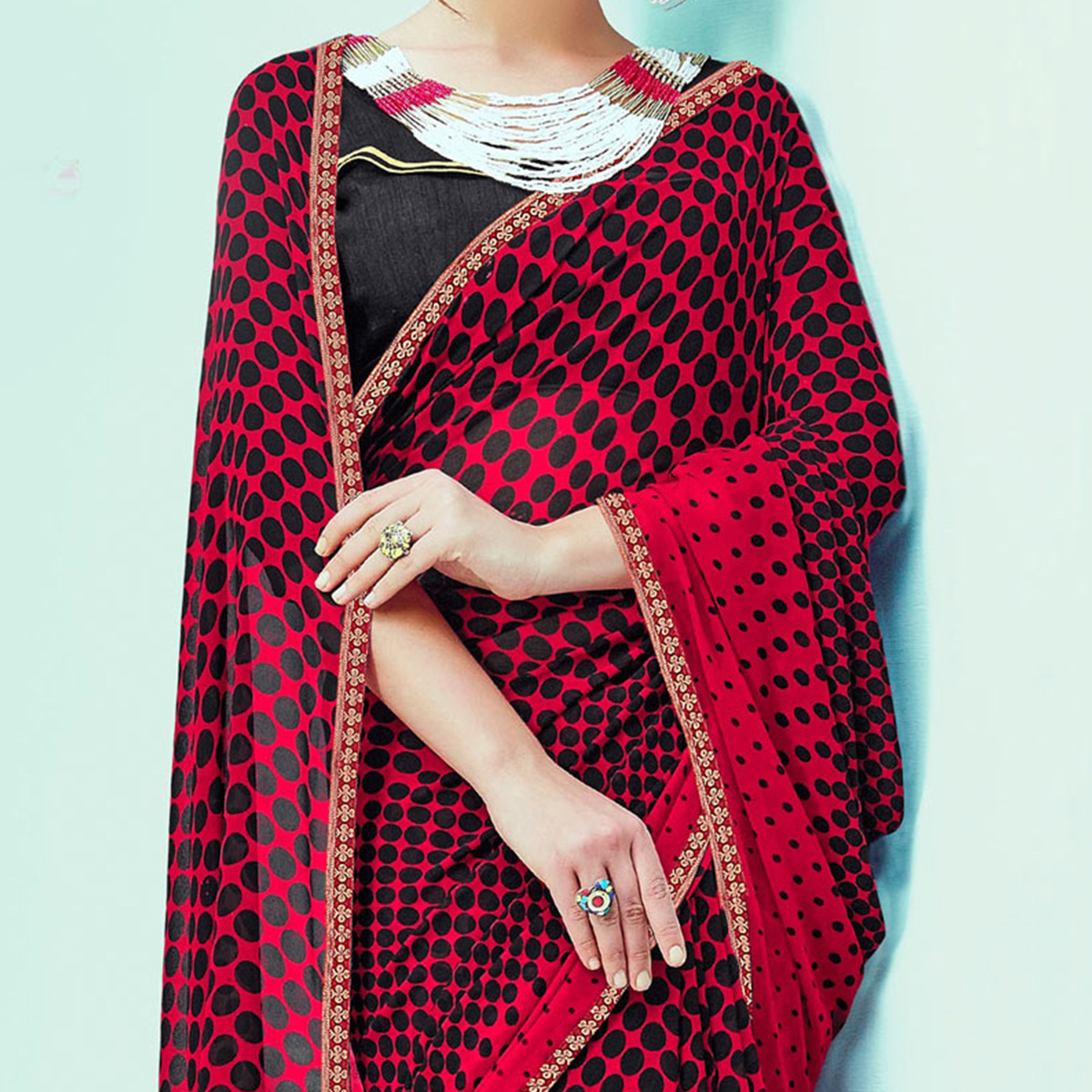 Charming Red-Black Casual Wear Printed Georgette Saree