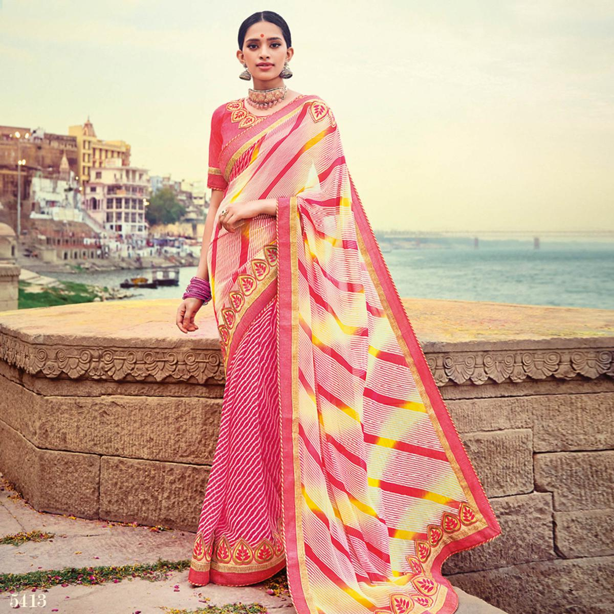 Beautiful Pink Colored Party Wear Lehariya Printed Georgette Saree