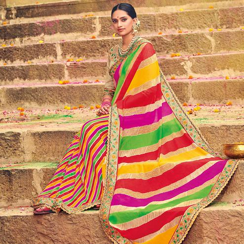Ideal Multicolored Party Wear Lehariya Printed Georgette Saree