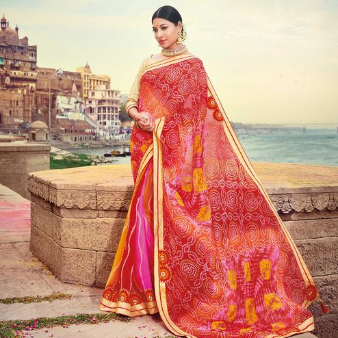 Elegant Maroon-Multicolored Party Wear Lehariya Printed Georgette Saree