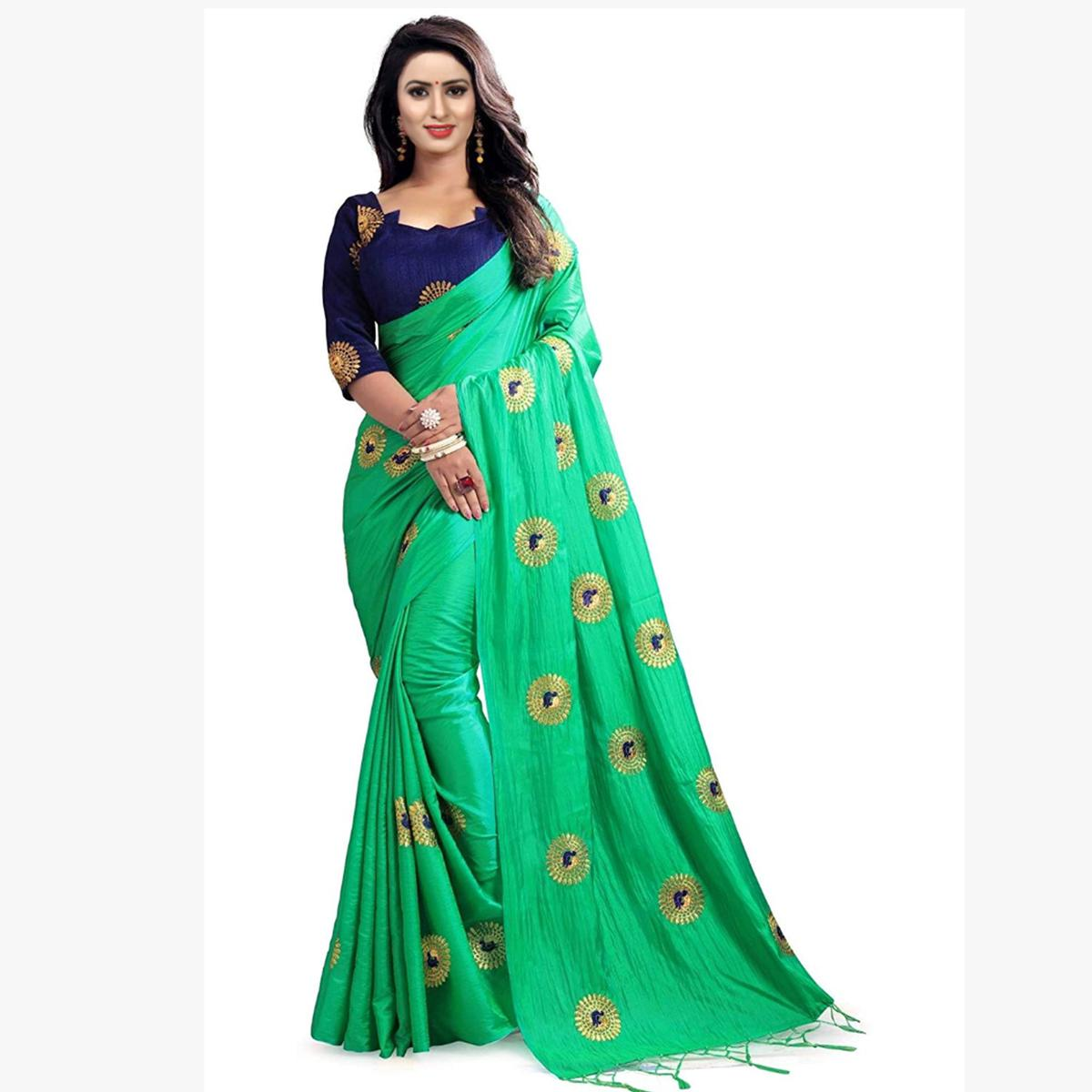 Amazing Turquoise Green Colored Partywear Embroidered Paper Silk Saree