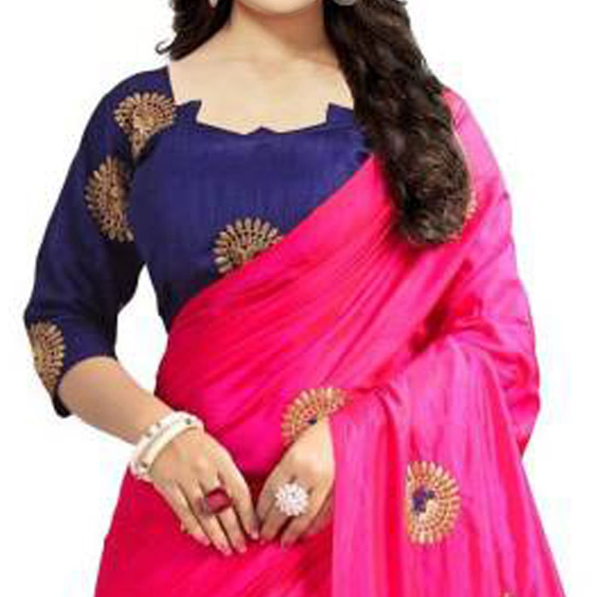 Charming Pink Colored Partywear Embroidered Paper Silk Saree