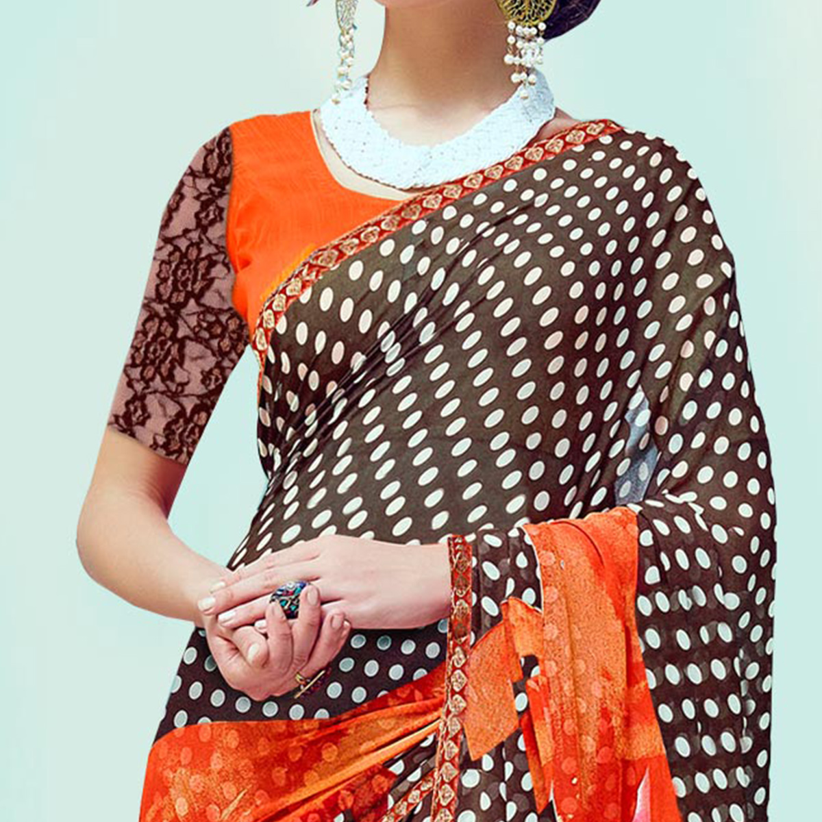 Alluring Brown-Orange Casual Wear Printed Georgette Saree