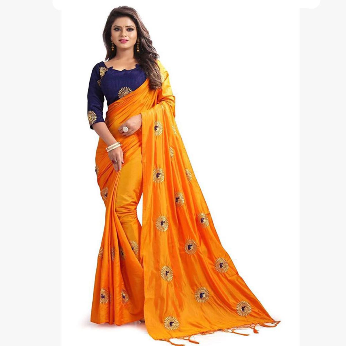 Glowing Orange Colored Partywear Embroidered Paper Silk Saree