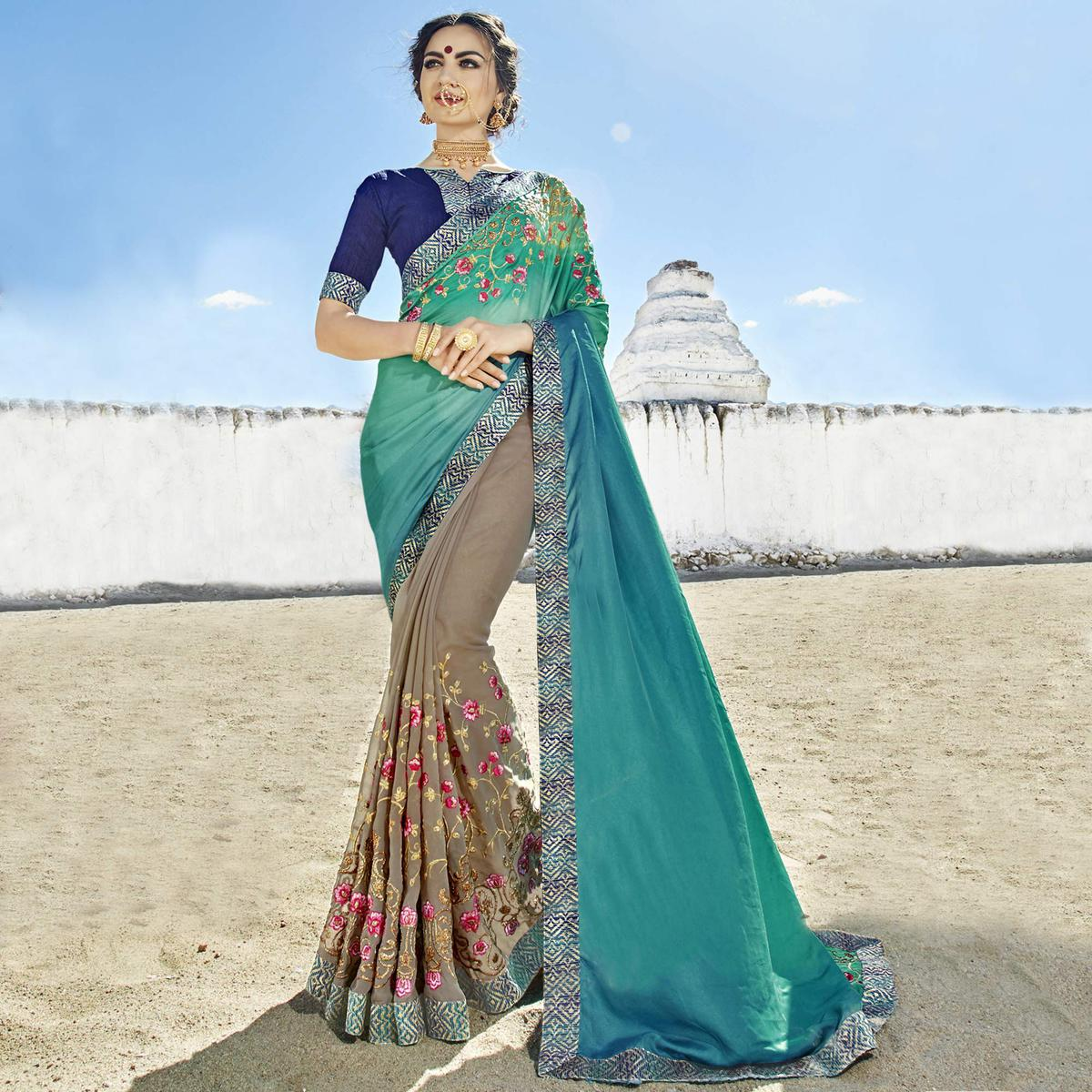 Appealing Teal Blue-Grey Colored Party Wear Embroidered Georgette Saree