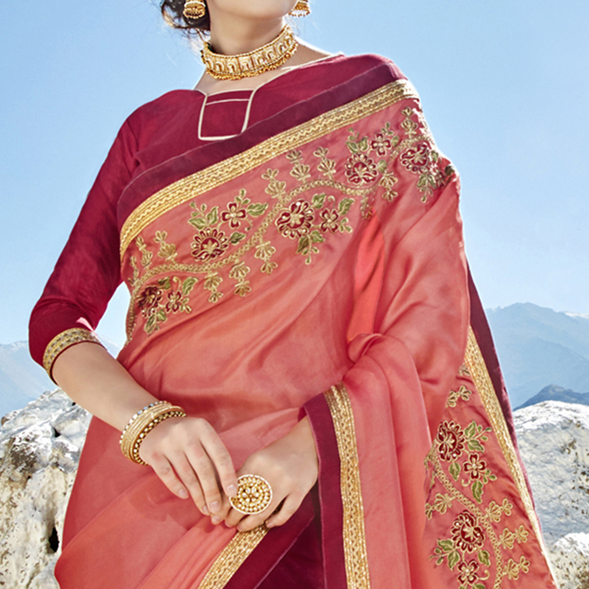 Groovy Pink-Maroon Colored Party Wear Embroidered Georgette Saree