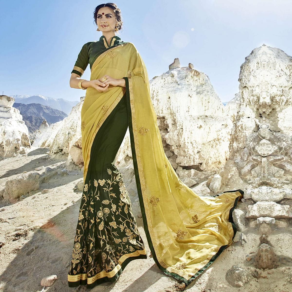 Prominent Shaded Olive Green Colored Party Wear Embroidered Georgette Saree
