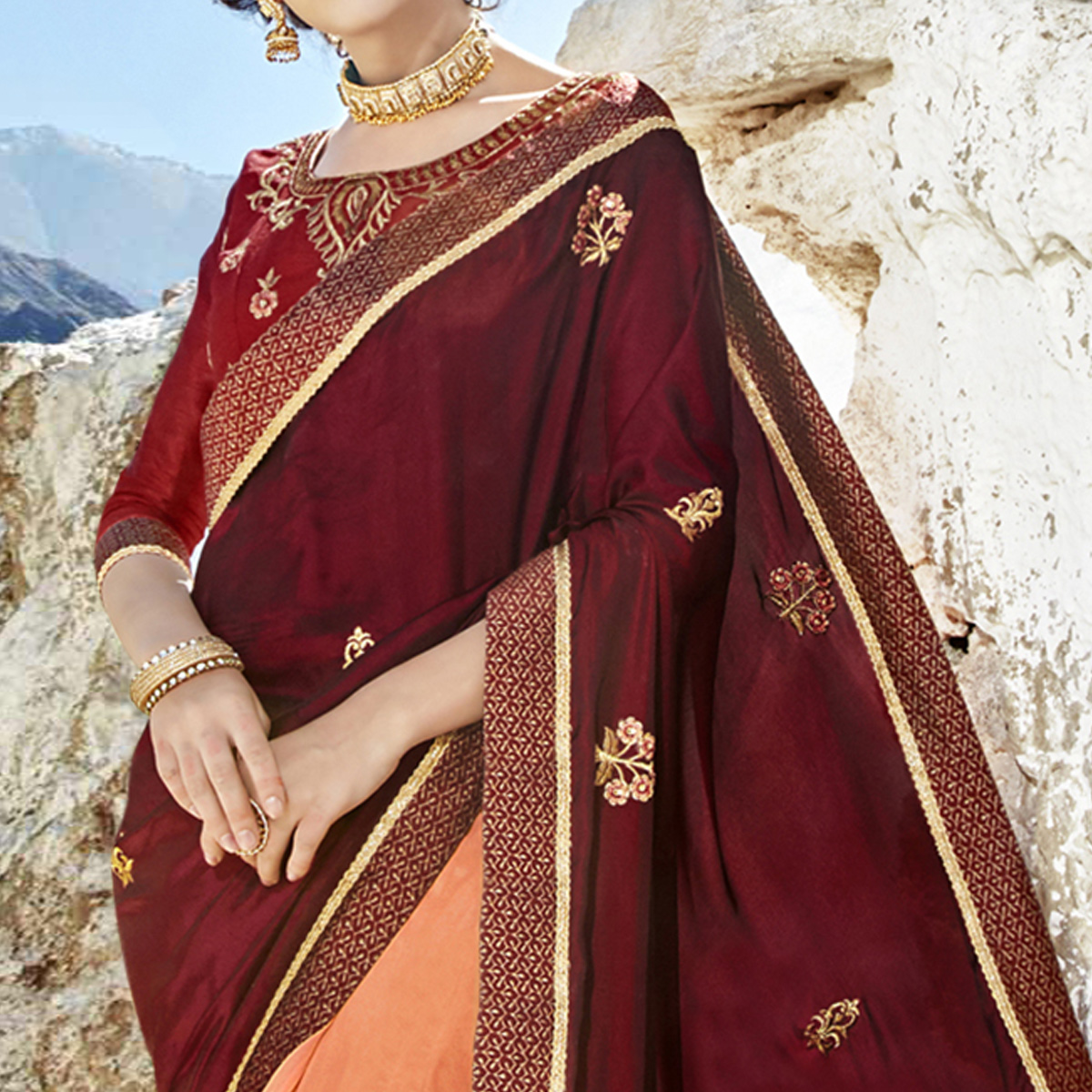 Adorning Maroon-Peach Colored Party Wear Embroidered Georgette Saree