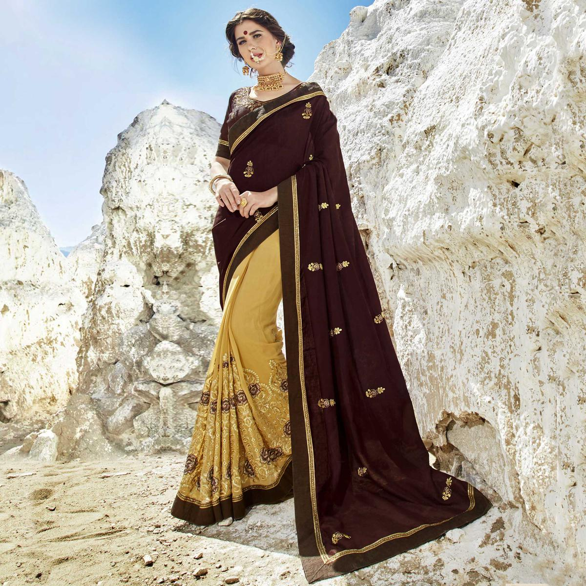 Engrossing Coffee-Cream Colored Party Wear Embroidered Georgette Saree