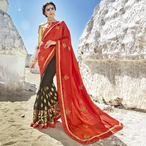 Fantastic Orange-Grey Colored Party Wear Embroidered Georgette Saree