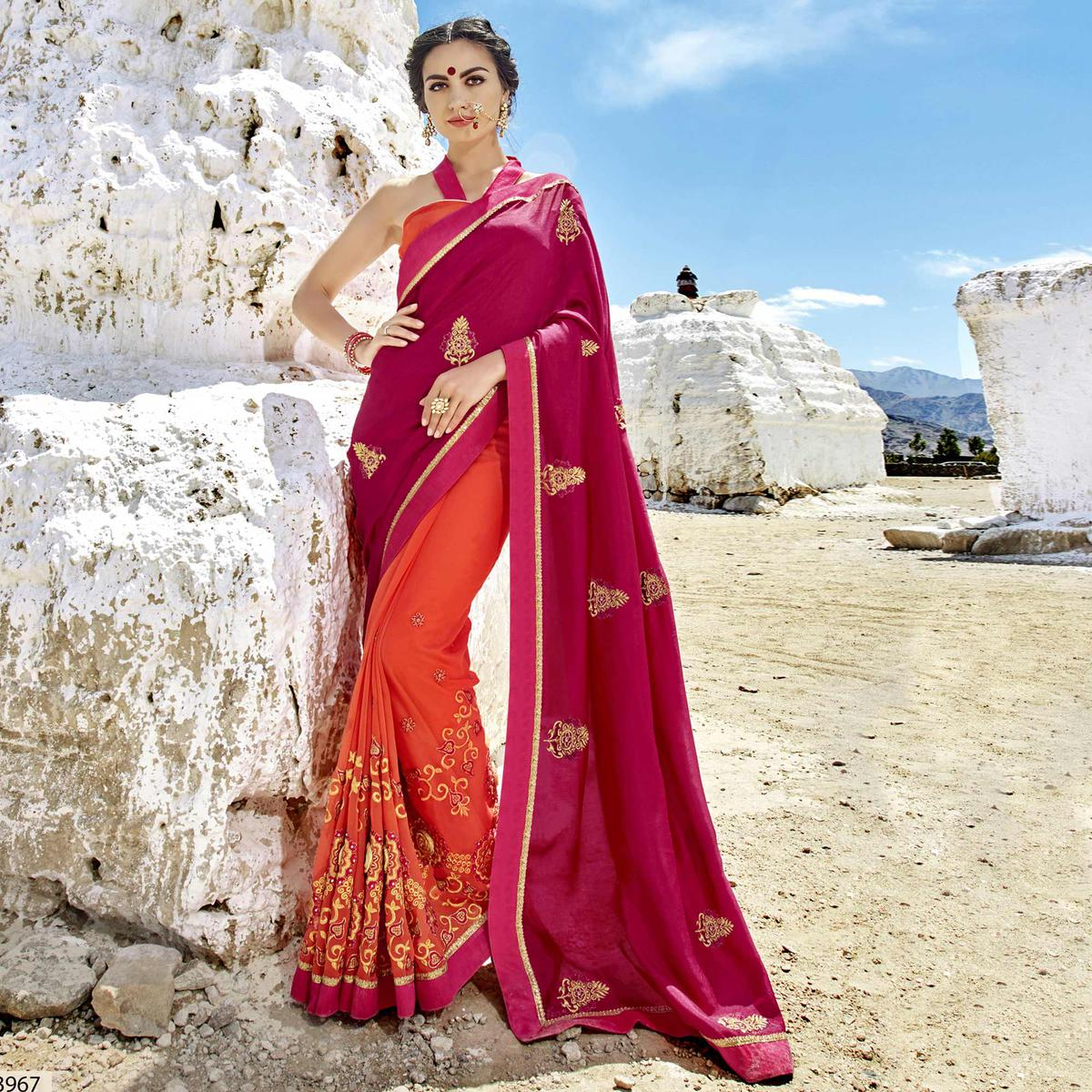 Pleasance Orange-Pink Colored Party Wear Embroidered Georgette Saree