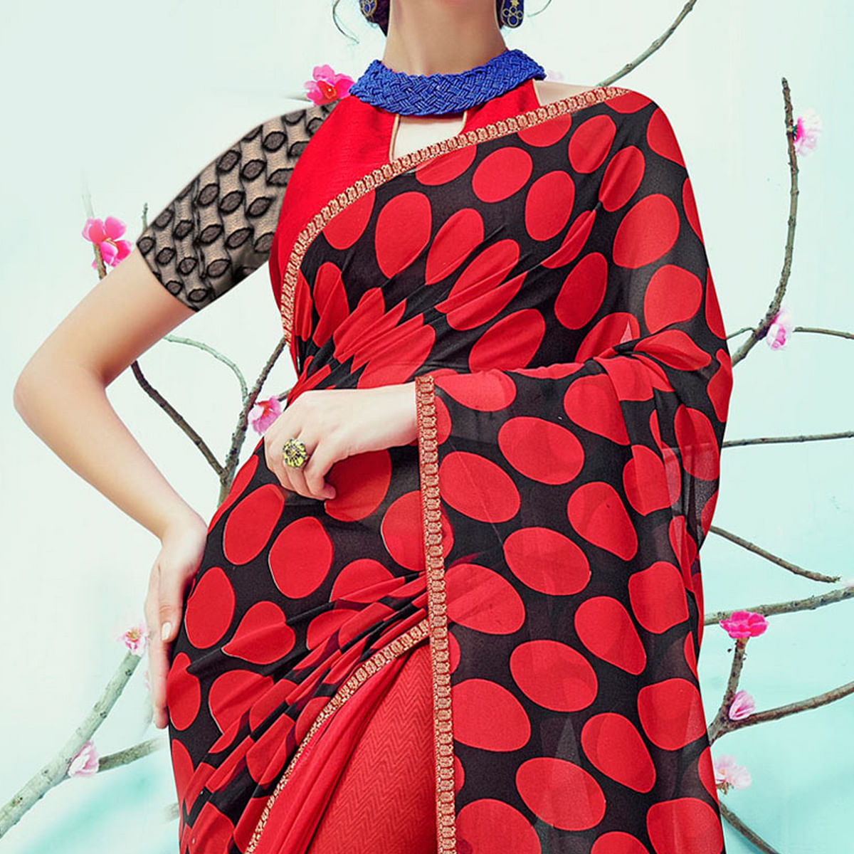 Ravishing Red Casual Wear Printed Georgette Saree