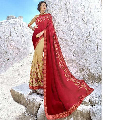 Preferable Pink-Beige Colored Party Wear Embroidered Georgette Saree