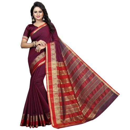 Elegant Wine Colored Festive Wear Woven Cotton Silk Saree