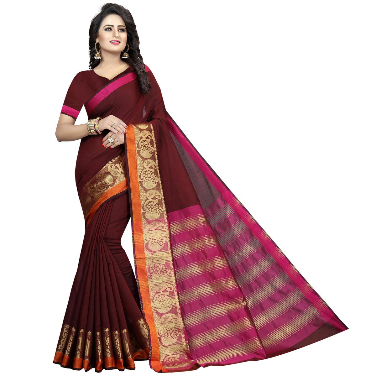 Alluring Maroon Colored Festive Wear Woven Cotton Silk Saree