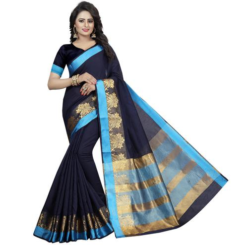 Radiant Navy Blue Colored Festive Wear Woven Cotton Silk Saree