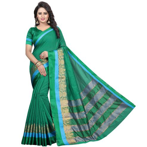 Sensational Green Colored Festive Wear Woven Cotton Silk Saree