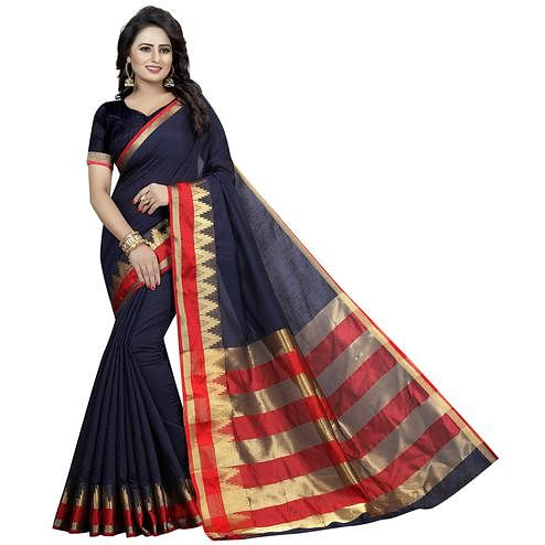 Opulent Navy Blue Colored Festive Wear Woven Cotton Silk Saree