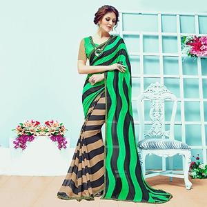 Attractive Green-Beige Striped Half & Half Casual Wear Printed Georgette Saree