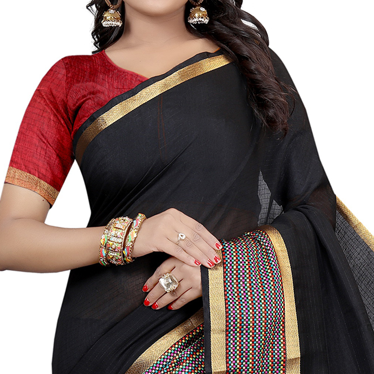 Innovative Black Colored Festive Wear Woven  Cotton Silk Saree