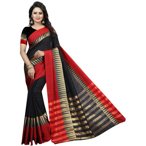 Amazing Black Colored Festive Wear Woven Cotton Silk Saree