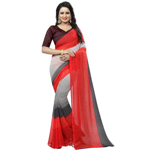 Adorable Red - White Colored Casual Wear Printed Georgette Saree