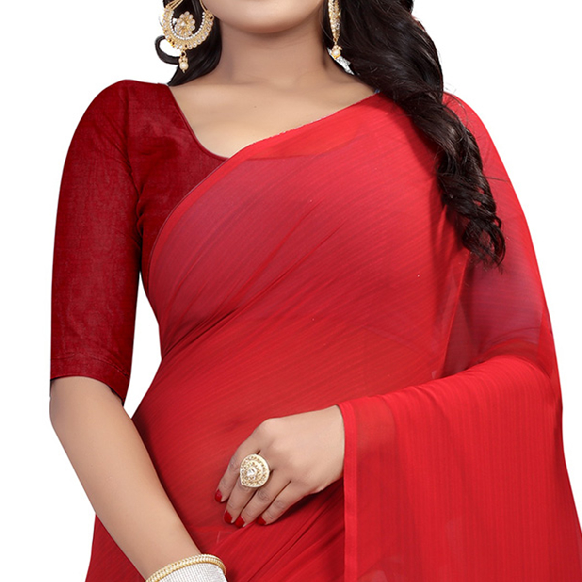 Attractive Red Colored Casual Wear Printed Georgette Saree