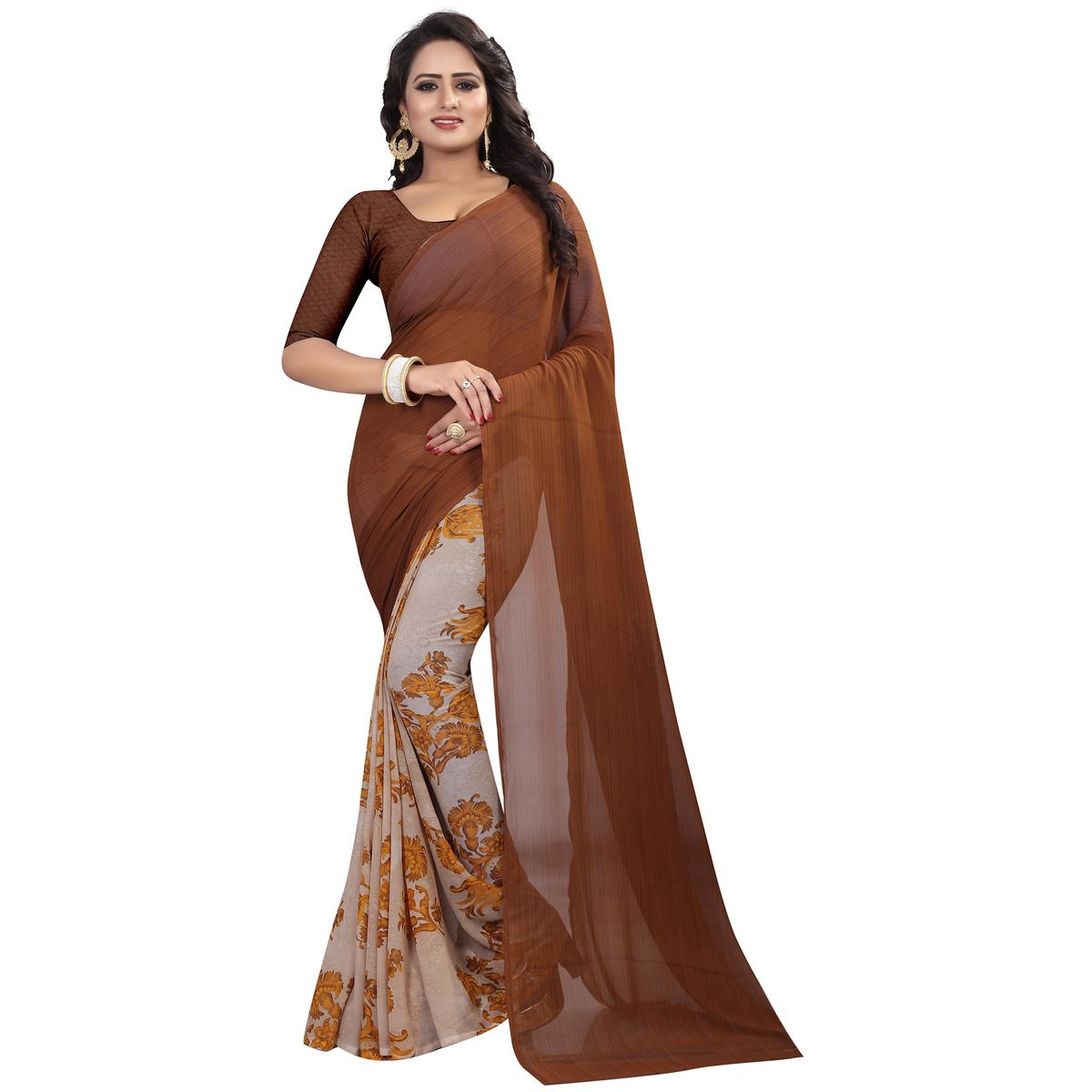 Beautiful Brown Colored Casual Wear Printed Georgette Saree