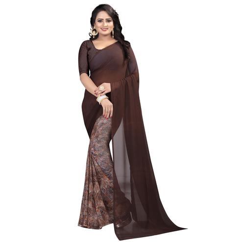 Gorgeous Coffee Brown Colored Casual Wear Printed Georgette Saree