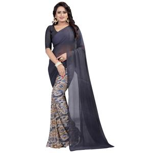 Classy Grey Colored Casual Wear Printed Georgette Saree