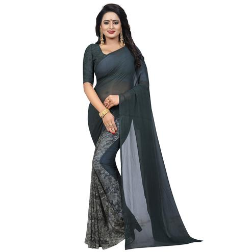 Graceful Grey Colored Casual Wear Printed Georgette Saree