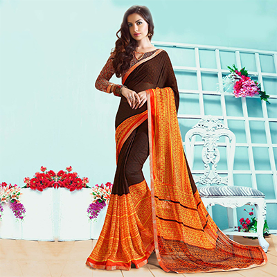 Classy Brown-Orange Casual Wear Printed Georgette Saree