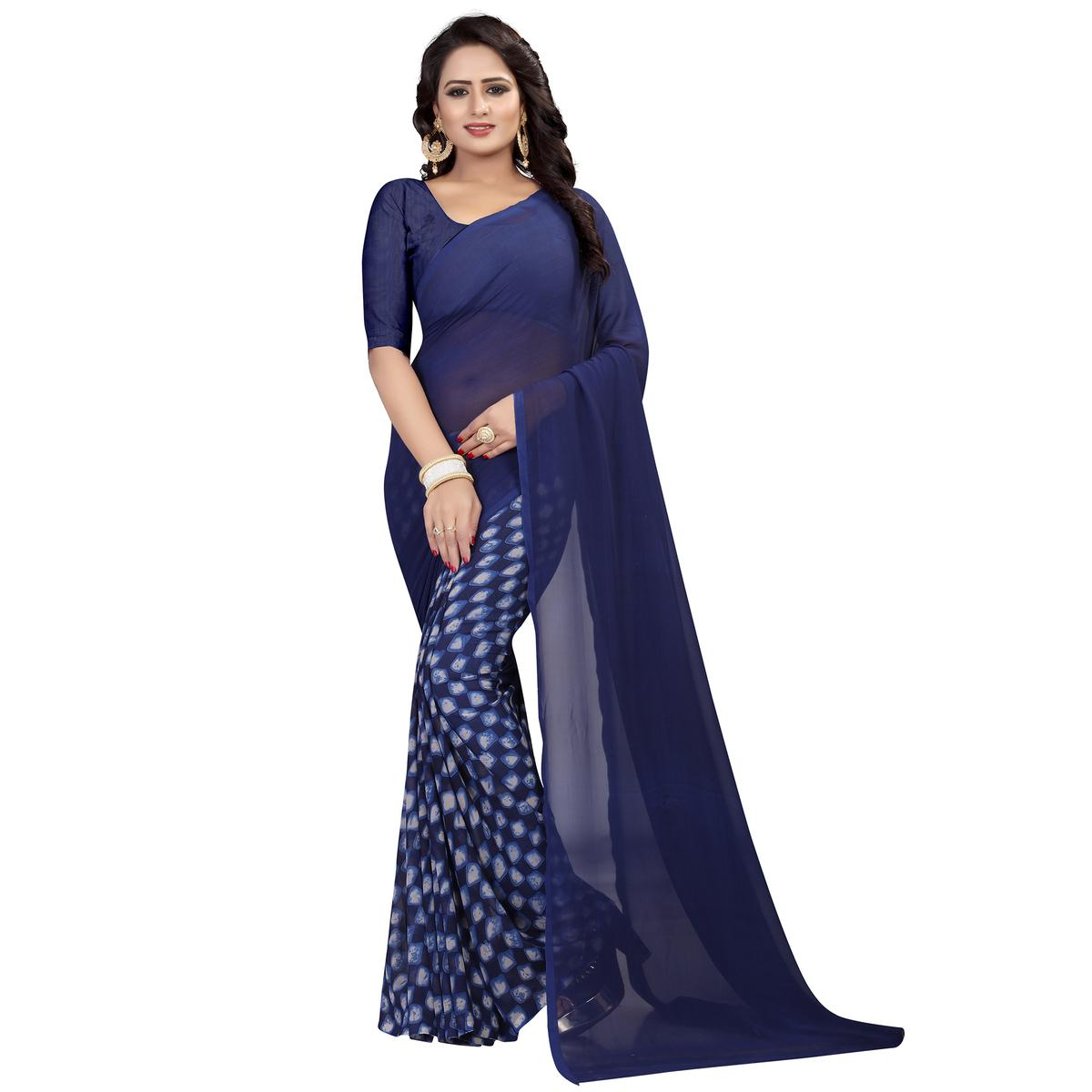 Lovely Navy Blue Colored Casual Wear Printed Georgette Saree