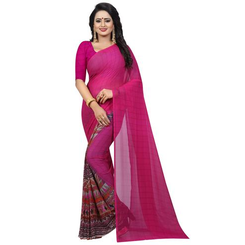Pretty Pink Colored Casual Wear Printed Georgette Saree