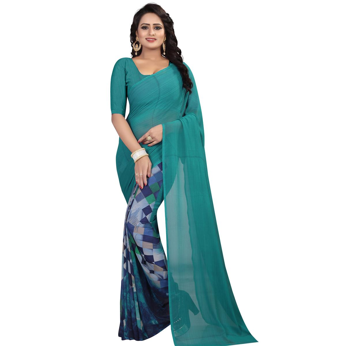 Charming Rama Blue Colored Casual Wear Printed Georgette Saree