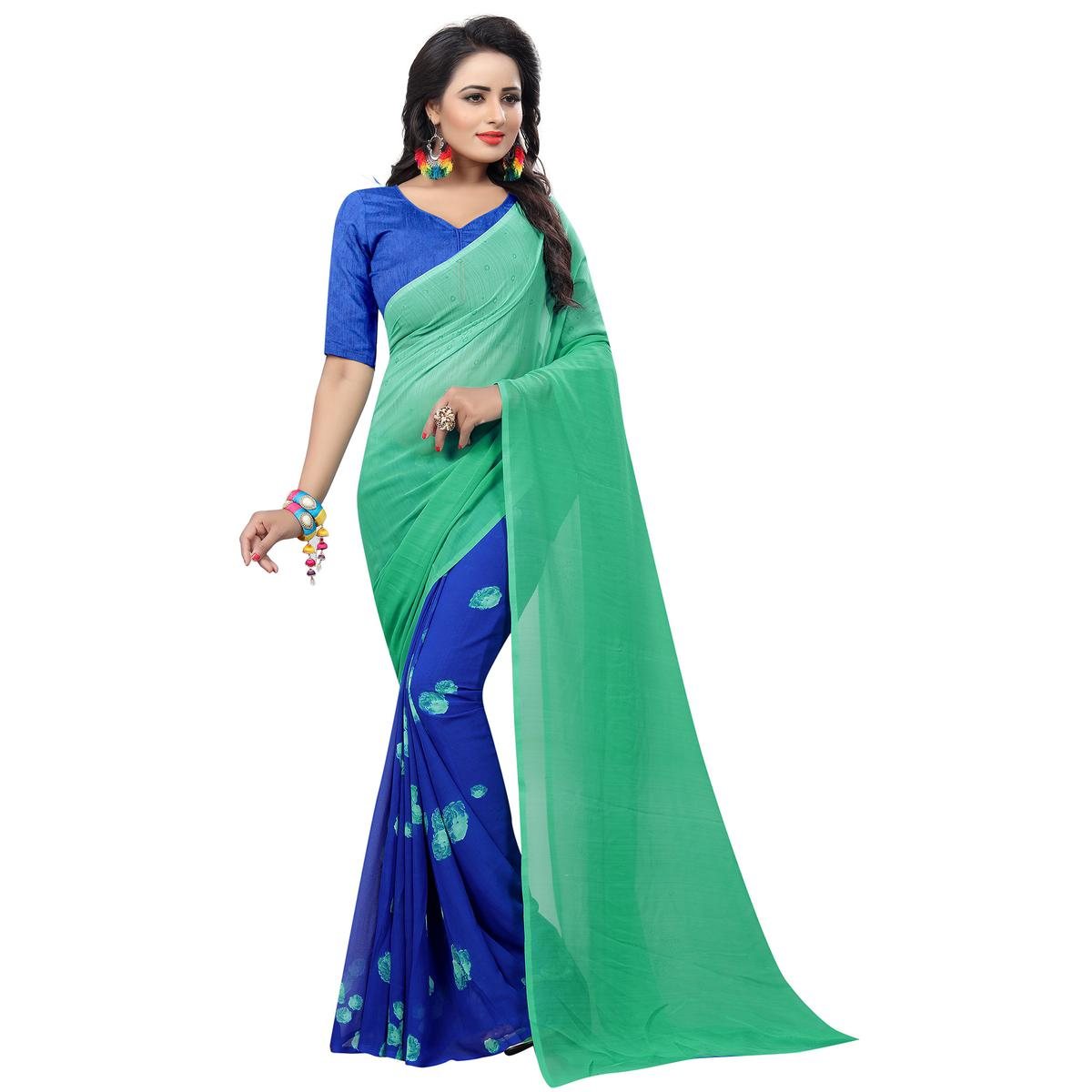Delightful Blue Colored Casual Wear Printed Georgette Saree