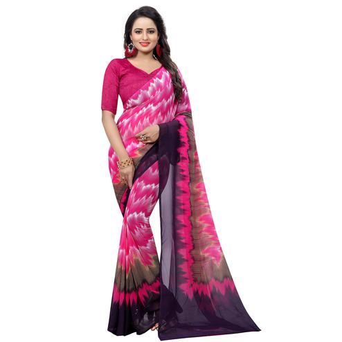 Blooming Pink Colored Casual Wear Printed Georgette Saree