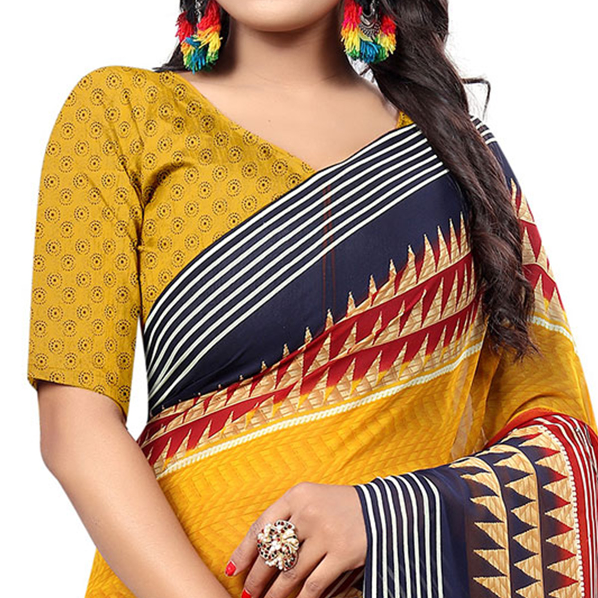 Marvellous Mustard Yellow Colored Casual Wear Printed Georgette Saree