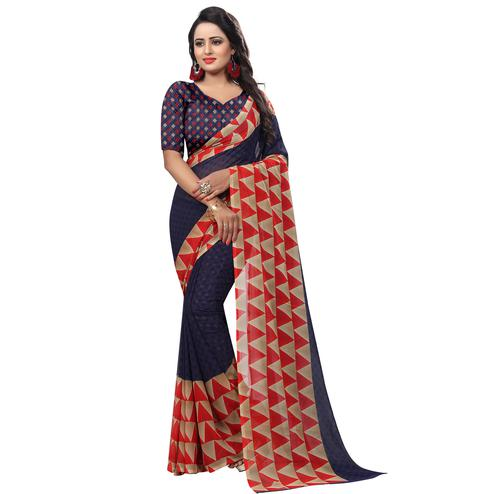 Ravishing Navy Blue Colored Casual Wear Printed Georgette Saree