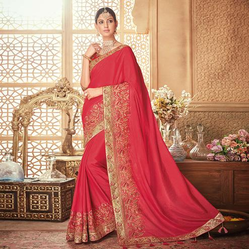 Intricate Red Colored Party Wear Embroidered Silk Saree