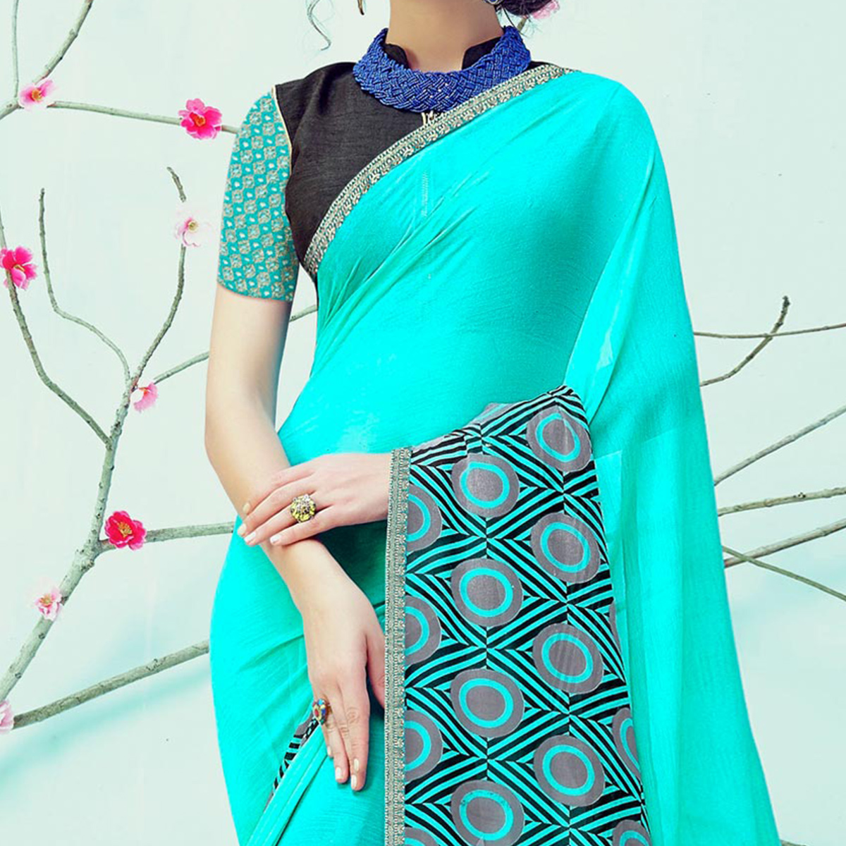 Elegant Blue Casual Wear Printed Georgette Saree
