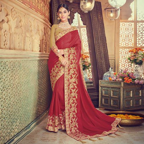 Demanding Red Colored Party Wear Embroidered Silk Saree