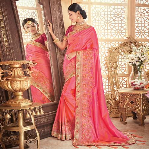 Pleasant Pink Colored Party Wear Embroidered Silk Saree