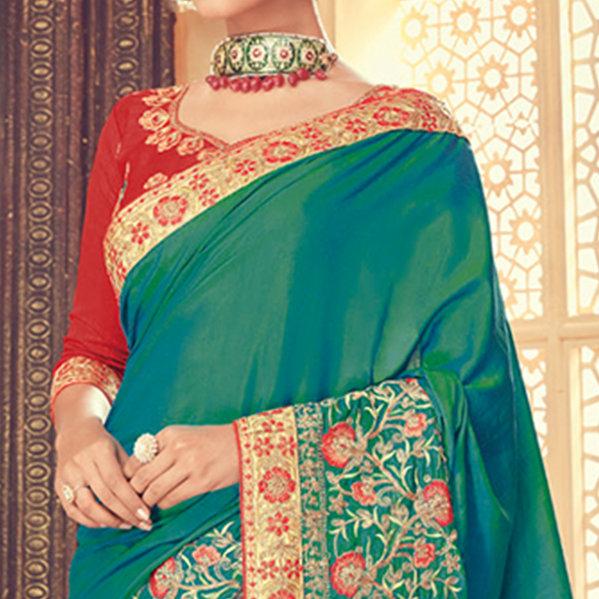 Unique Rama Green Colored Party Wear Embroidered Silk Saree