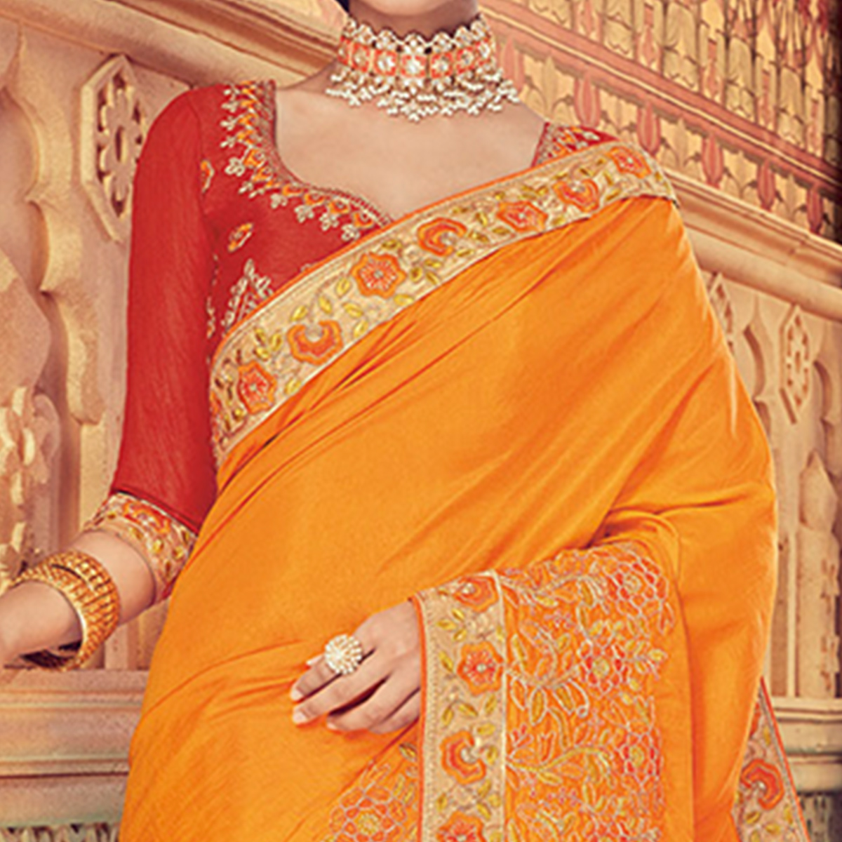 Refreshing Yellow Colored Party Wear Embroidered Silk Saree