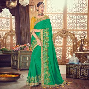 Blissful Green Colored Party Wear Embroidered Silk Saree