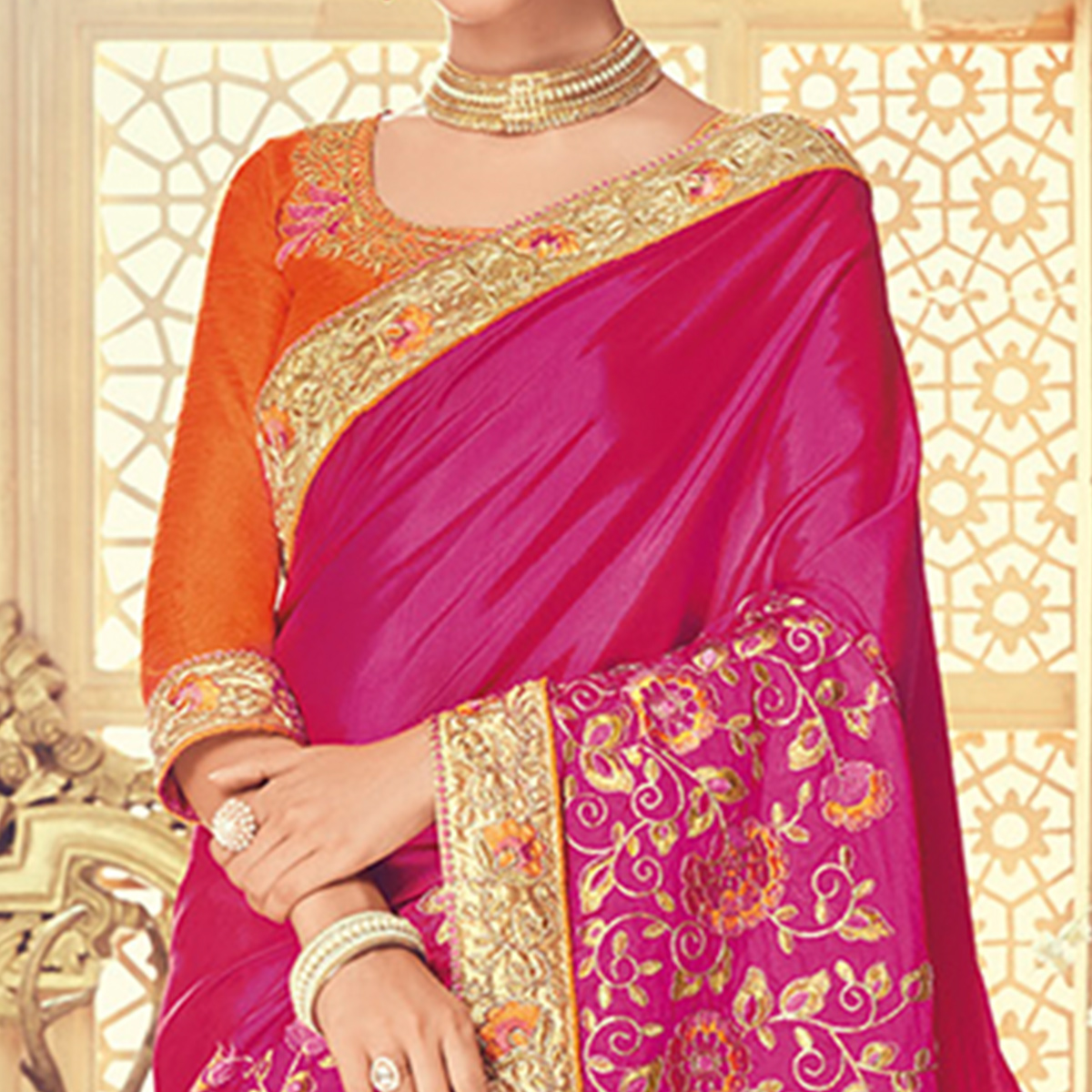 Pleasance Dark Pink Colored Party Wear Embroidered Silk Saree