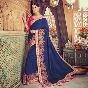 Engrossing Navy Blue Colored Party Wear Embroidered Silk Saree