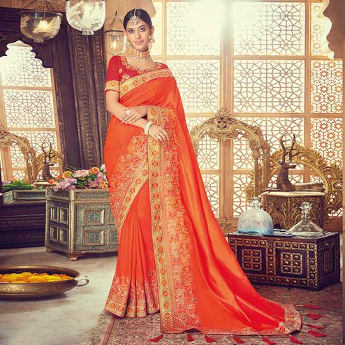 Fantastic Orange Colored Party Wear Embroidered Silk Saree