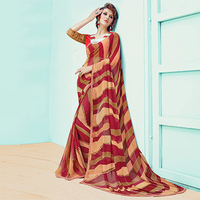 Marvellous Maroon-Beige Striped Casual Wear Printed Georgette Saree